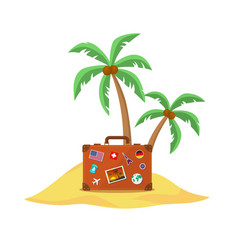 travel suitcase with palmtrees vector image vector image