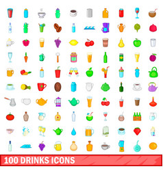 100 drink icons set cartoon style vector image