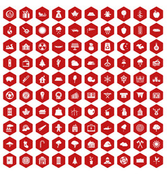 100 lumberjack icons hexagon red vector