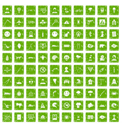 100 phobias icons set grunge green vector