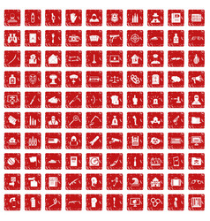 100 violation icons set grunge red vector