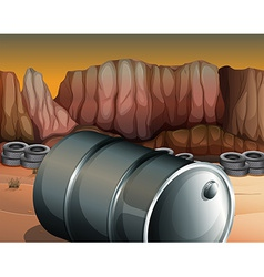 A desert with a barrel and tires vector