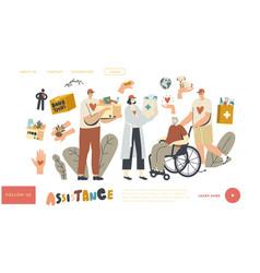 Aged people aid landing page template volunteers vector