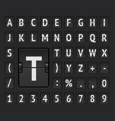 Airport flip mechanical board bold alphabet for vector