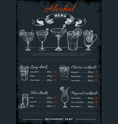 alcoholic drinks and cocktails menu vector image