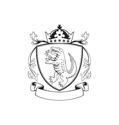 alligator standing coat arms black and white vector image