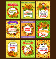 Autumn sale retro poster set with fall season leaf vector
