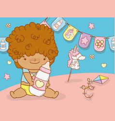 Baby boy with curly hair and feeding bottle vector