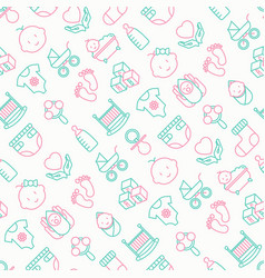 Baby care seamless pattern with thin line icons vector