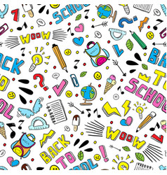 back to school funny seamless pattern vector image