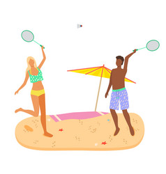 badminton game on beach man and woman in swimsuits vector image