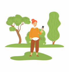 beautiful girl showing new smartphone young woman vector image