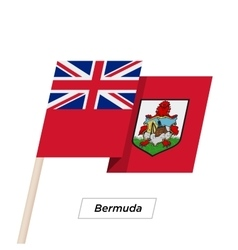 Bermuda Ribbon Waving Flag Isolated on White vector