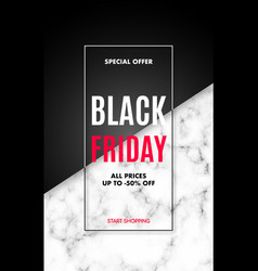 black friday sale poster with marble texture vector image