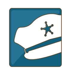 Blue hat police icon image vector