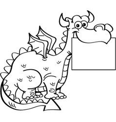 Cartoon dragon holding a sign vector