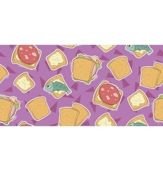 Cartoon seamless pattern with cute sandwiches vector image