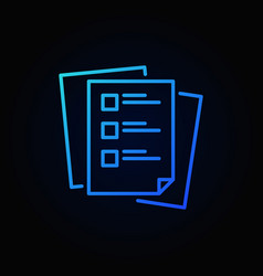 Checklist or tasklist blue outline icon or vector