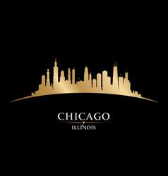 Chicago illinois city silhouette black background vector