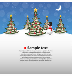christmas forest with a snowman on background vector image