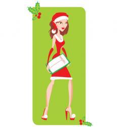 Christmas girl vector