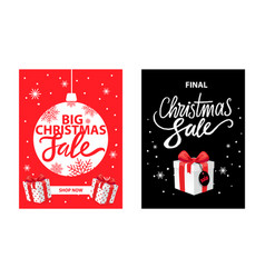 christmas sale shop now leaflets with lettering vector image