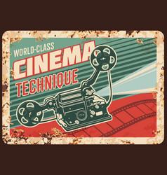 Cinema technique rusty plate vintage camera vector