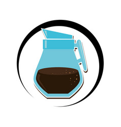 Circular frame with coffee glass jar vector
