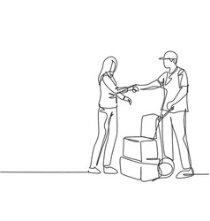 continuous line drawing courier delivery man vector image