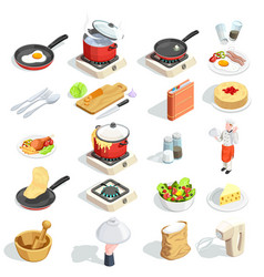 Cooking isometric icons collection vector
