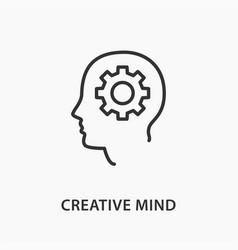 creative brain icon on white background vector image