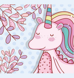Cute unicorn with horn and plants leaves vector