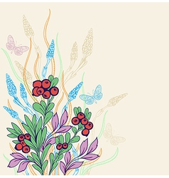 Decorative floral background with berries vector