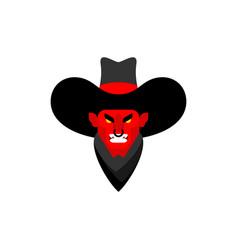 Demon cowboy face wild west devil gunfighter vector