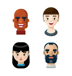 different people avatars cartoon icon set vector image