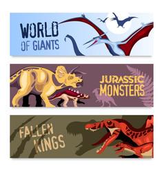 Dinosaurs horizontal banners vector