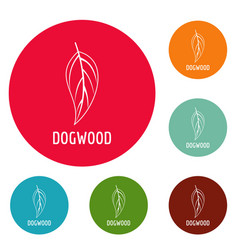 Dogwood leaf icons circle set vector