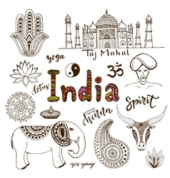 Doodle hand drawn collection of India icons vector image vector image