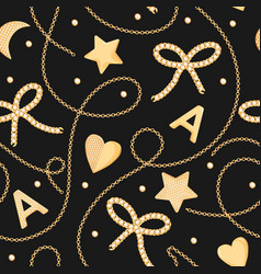 fashion seamless pattern with golden chains gems vector image