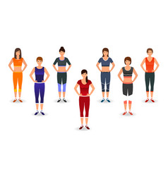 Fitness people in sports wear group of women vector