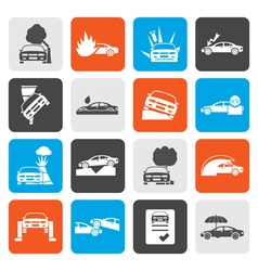 Flat car and transportation insurance and risk vector image vector image