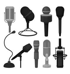 flat set of microphones professional vector image