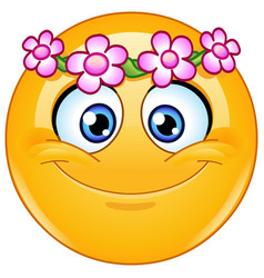 flower head wreath emoticon vector image