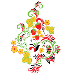 Folk ornament with strawberries vector