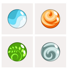 Four elements round badges vector