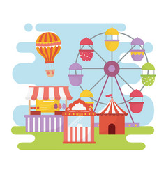 fun fair carnival ferris wheel booth ticket food vector image