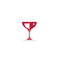 glass wine drink abstract logo vector image
