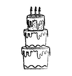 Grunge big cake with three floors style vector