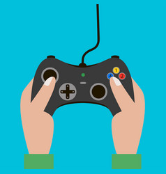 Hand hold video game controller gamepad vector