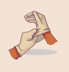 hands putting on medical gloves vector image